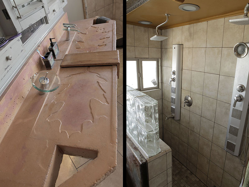 concrete sink and shower