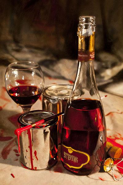 red label wine